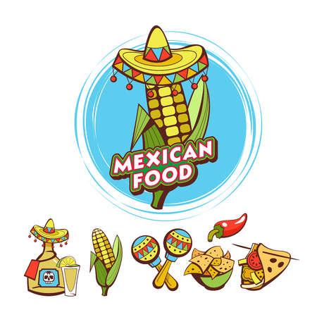Mexican food. Corn on the cob in sombrero. A set of popular Mexican fast food dishes. Vector illustration in cartoon style.