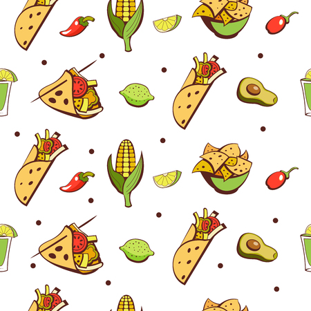 Seamless pattern on white background. Mexican food. A set of popular Mexican fast food dishes. Vector illustration in cartoon style.