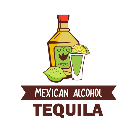 Tequila. Popular Mexican alcoholic drink. Cactus vodka .Vector illustration in cartoon style.