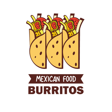 Burritos. A popular Mexican fast food dish. Vector illustration in cartoon style.