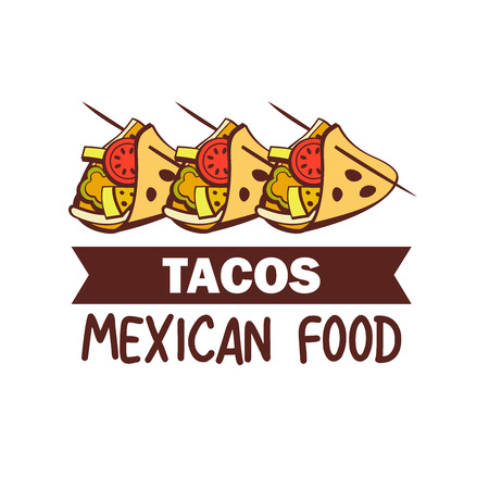 Tacos. A popular Mexican fast food dish. Vector illustration in cartoon style.