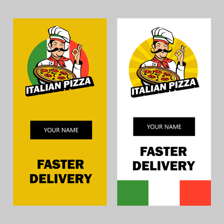 Italian chef with a mustache holding a delicious pizza. Italian pizza, traditional national dish. Vector emblem.