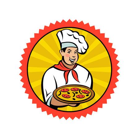 Chef italien tenant une délicieuse pizza. Pizza italienne, plat national traditionnel. Emblème de vecteur. Vecteurs