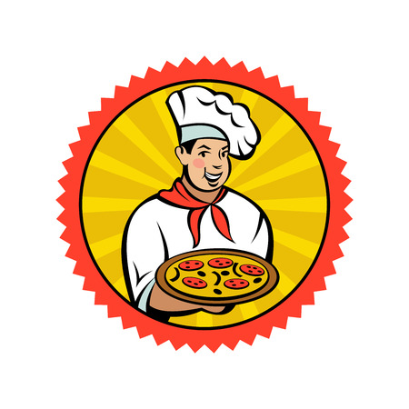 Italian chef holding a delicious pizza. Italian pizza, traditional national dish. Vector emblem.