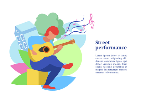 Street musician. The guy plays the guitar. Street performance. Musical show.  Vector illustration. Ilustração