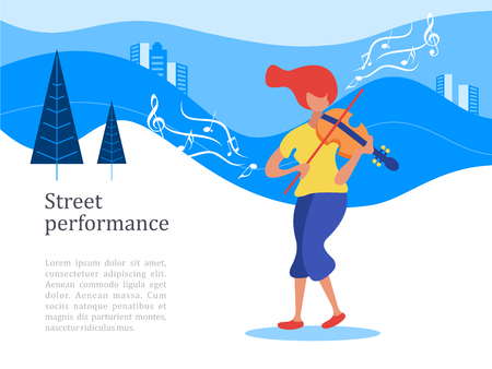 Street musician. The girl plays the violin. Music show, street performance. Vector illustration.