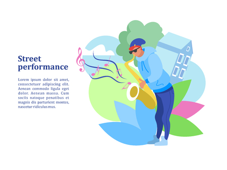 Street musician. The guy plays the saxophone. Street performance. Musical show.  Vector illustration. Illustration