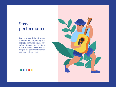 Street musician. The guy plays the guitar. Street performance. Musical show.  Vector illustration. 向量圖像