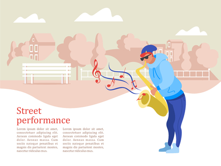 Street musician. The guy plays the saxophone. Street performance. Musical show.  Vector illustration. 向量圖像