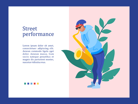 Street musician. The guy plays the saxophone. Street performance. Musical show.  Vector illustration. Stock Illustratie