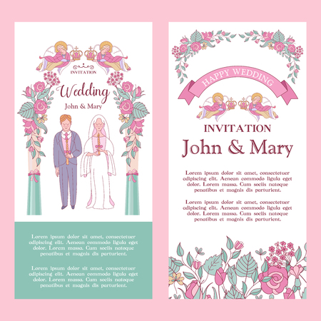 Elegant wedding invitation. Vector illustration, greeting card. The bride and groom are married under a pink pergola. Angels hold crowns over their heads. Wedding according to the Christian Orthodox rite.