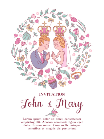 Elegant wedding invitation. Vector illustration, greeting card. The bride and groom with crowns on their heads, surrounded by flowers and leaves. Wedding according to the Christian Orthodox rite.