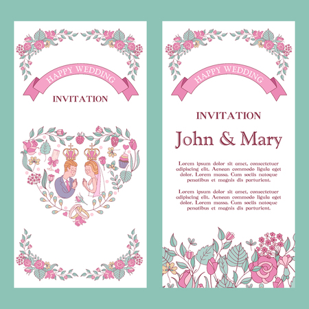 Elegant wedding invitation. Vector illustration, greeting card. Bride and groom with crowns over their heads. Wedding according to the Christian Orthodox rite. Framing of roses, leaves and berries in the shape of a heart. Illustration