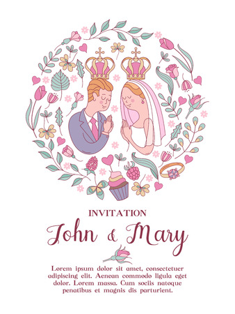 Elegant wedding invitation. Vector illustration, greeting card. Bride and groom with crowns over their heads. Wedding according to the Christian Orthodox rite. Framing of roses, leaves and berries in the form of a circle. Illustration