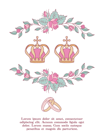 Elegant wedding invitation. Vector illustration, greeting card. Wedding crowns framed by roses and leaves. Wedding according to Christian custom.