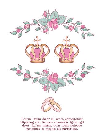 Elegante Hochzeitseinladung. Vektorillustration, Grußkarte. Hochzeitskronen umrahmt von Rosen und Blättern. Hochzeit nach christlichem Brauch. Vektorgrafik