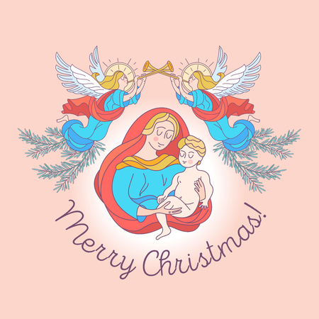Merry Christmas. The blessed virgin Mary in a blue tunic and a red bedspread. Madonna is holding the baby Jesus. Angels trumpet the trumpets announcing the birth of the Savior. Vector illustration.