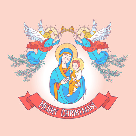 Merry Christmas. The blessed virgin Mary in a blue tunic. Madonna is holding the baby Jesus. Angels trumpet the trumpets announcing the birth of the Savior. Vector illustration. Illustration