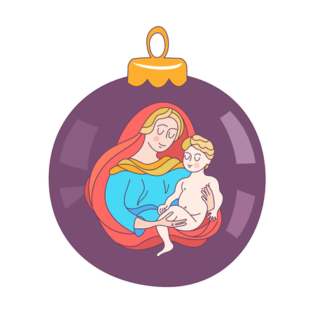 Merry Christmas. Vector greeting card. The virgin Mary and the baby Jesus. Christmas toy ball.