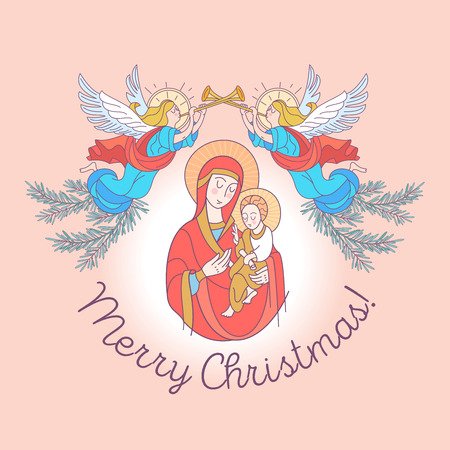 Merry Christmas. The blessed virgin Mary in a red tunic. Madonna is holding the baby Jesus. Angels trumpet the trumpets announcing the birth of the Savior. Vector illustration. 일러스트
