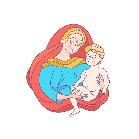 The blessed virgin Mary in a blue tunic and a red bedspread. Madonna is holding the baby Jesus. Vector illustration.