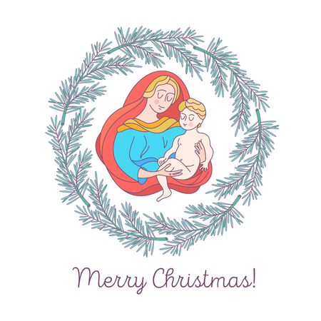 Merry Christmas. Vector greeting card. The virgin Mary and the baby Jesus.