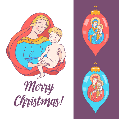 Merry Christmas. Vector greeting card. The virgin Mary and the baby Jesus. Two Christmas decorations.