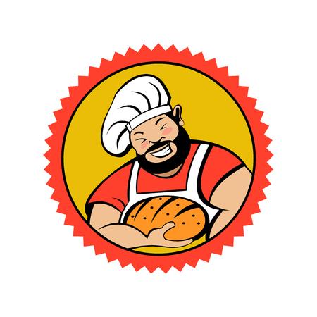 A cute smiling bearded Baker holds freshly baked bread. Vector illustration of emblem of a bakery. Illustration