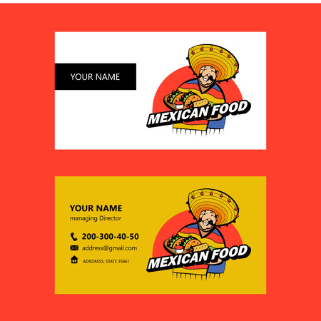 A Jolly Mexican wearing a striped poncho and a big Mexican hat holds a tray of traditional Mexican food. Tacos, burrito. Business card layout.Vector emblem of Mexican restaurant. Stock Illustratie