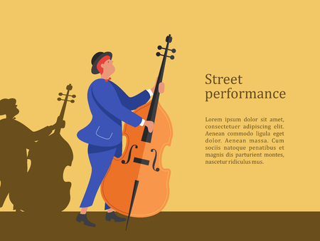 Street musician. A man in a suit and a hat playing the double bass. Street performance. Vector illustration.