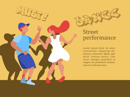 Street dancer. Street performance. Boy and girl dancing. Vector illustration.