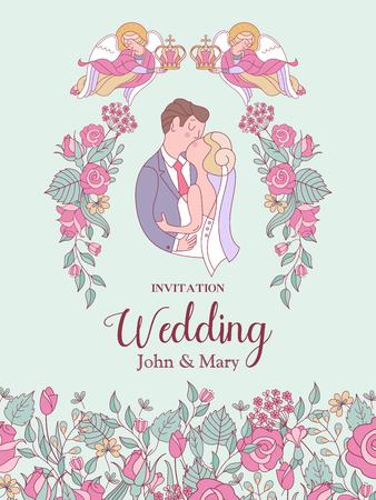 Feliz boda. Ilustración vectorial Ceremonia de la boda. La novia y el novio. Tarjeta de boda romántica, invitación de boda.