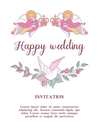 Happy wedding. Vector illustration. Wedding ceremony.  Romantic wedding card, wedding invitation.