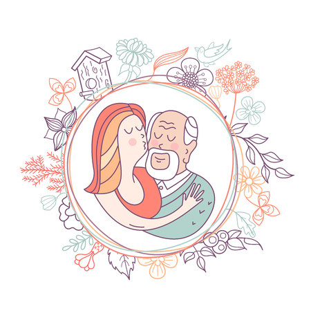 Happy day of the older person. Granddaughter hugging a beloved grandfather. Cute vector illustration of a greeting card.