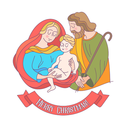 Merry Christmas. Vector greeting card. Virgin Mary, baby Jesus and Saint Joseph the betrothed.