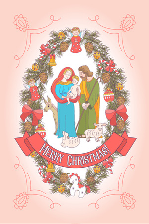 Merry Christmas. Vector greeting card. Virgin Mary, baby Jesus and Saint Joseph the betrothed. A wreath of fir branches decorated with Christmas decorations. 矢量图像