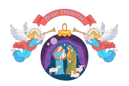 Merry Christmas. Vector greeting card. Virgin Mary, baby Jesus and Saint Joseph the betrothed. Angels with trumpets. Christmas decoration ball.