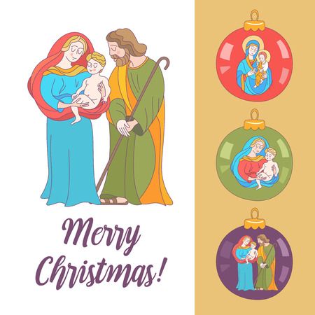 Merry Christmas. Vector greeting card. Virgin Mary, baby Jesus and Saint Joseph the betrothed. Set Christmas balls with the image of the virgin Mary, Jesus and Joseph. Stockfoto - 110163242