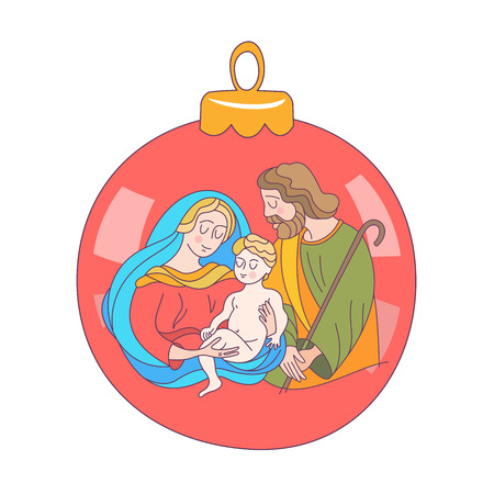 Merry Christmas. Vector greeting card. Virgin Mary, baby Jesus and Saint Joseph the betrothed.Christmas decoration ball.