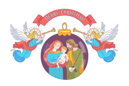 Merry Christmas. Vector greeting card. Virgin Mary, baby Jesus and Saint Joseph the betrothed. Angels with trumpets announce the birth of the Messiah. Christmas decoration ball.