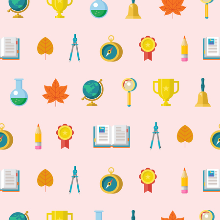 School supplies. Globe, open book, pencil, gold Cup, compass, compass. Design elements on a white background. Colorful seamless patterns on the theme of education, school, autumn. Vector illustration in flat style.