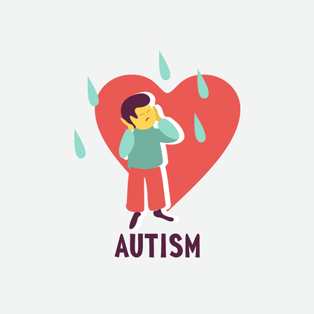 Autism. Early signs of autism syndrome in children. Vector emblem.  Children autism spectrum disorder ASD icon. Signs and symptoms of autism in a child. Stockfoto - 110164389