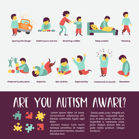 Autism. Early signs of autism syndrome in children. Vector illustration. Children autism spectrum disorder ASD icons. Signs and symptoms of autism in a child, such as ADHD, OCD, depression, there, epilepsy and hyperactivity. Stock Illustratie