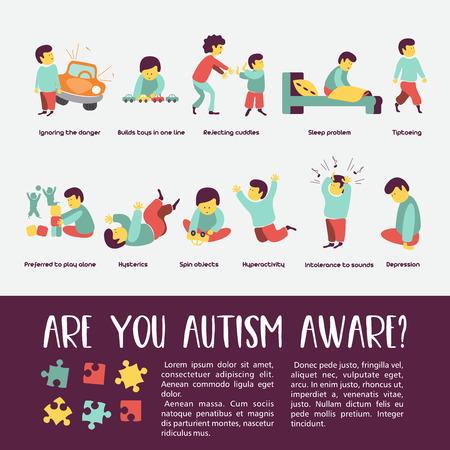 Autismo. Signos tempranos del síndrome de autismo en niños. Ilustración vectorial Los niños trastorno del espectro autista TEA iconos. Signos y síntomas del autismo en un niño, como TDAH, TOC, depresión, epilepsia e hiperactividad.
