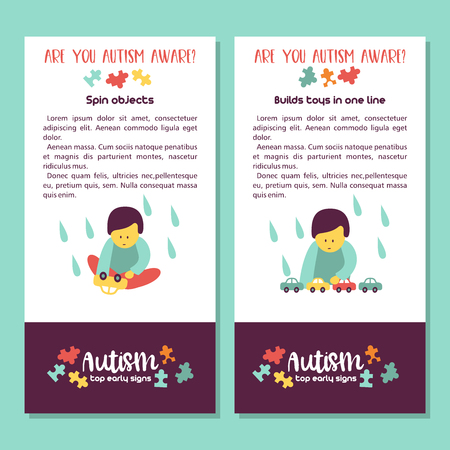 Autism. Early signs of autism syndrome in children. Vector illustration. Children autism spectrum disorder ASD icons. Signs and symptoms of autism in a child. Ilustracje wektorowe