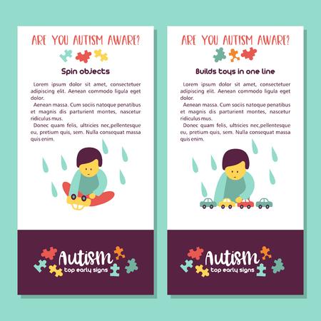 Autismo. Signos tempranos del síndrome de autismo en niños. Ilustración vectorial Los niños trastorno del espectro autista TEA iconos. Signos y síntomas del autismo en un niño. Ilustración de vector