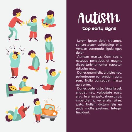 Autismo. Signos tempranos del síndrome de autismo en niños. Ilustración vectorial Los niños trastorno del espectro autista TEA iconos. Signos y síntomas del autismo en un niño, como TDAH, TOC, depresión, insomnio, epilepsia e hiperactividad.