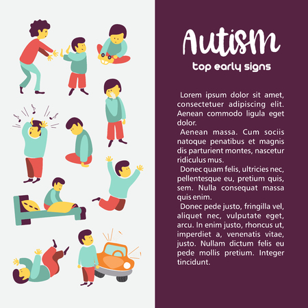 Autism. Early signs of autism syndrome in children. Vector illustration. Children autism spectrum disorder ASD icons. Signs and symptoms of autism in a child, such as ADHD, OCD, depression, insomnia, epilepsy and hyperactivity. Illustration
