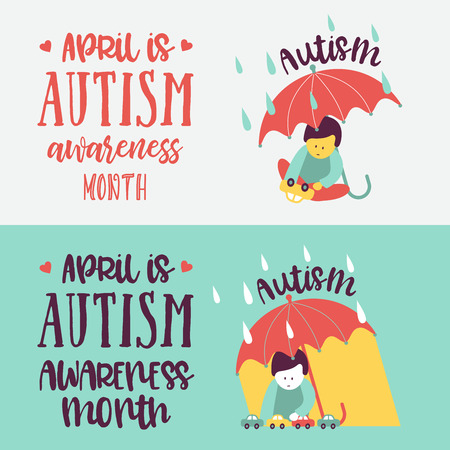 Autism. Early signs of autism syndrome in children. Vector emblem. Children autism spectrum disorder ASD icon. Signs and symptoms of autism in a child. Ilustracje wektorowe