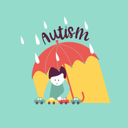 Autism. Early signs of autism syndrome in children. Vector emblem.  Children autism spectrum disorder ASD icon. Signs and symptoms of autism in a child. Illustration